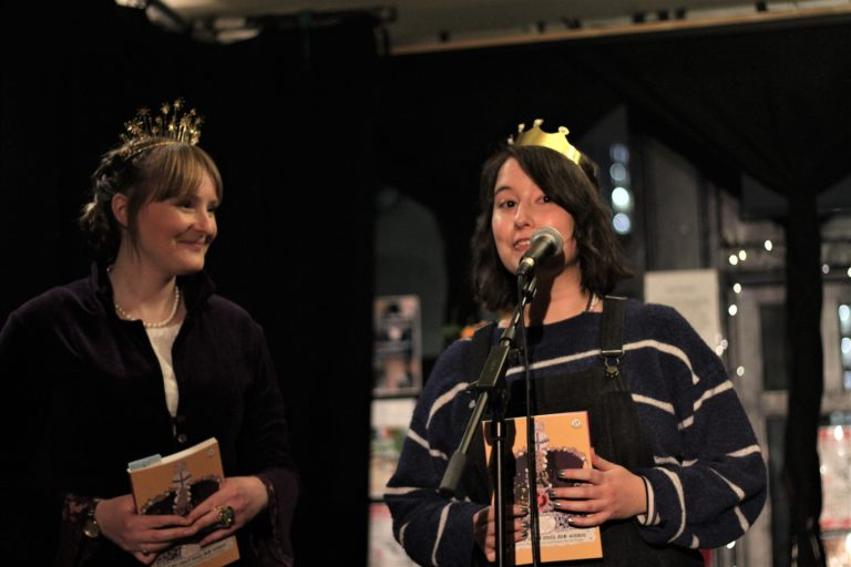 Emma Wright at the the launch of The Head That Wears A Crown- Poems about Kings and Queens. Courtesy of John Canfield