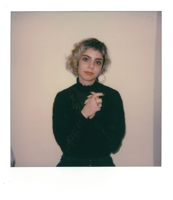 Polaroid color portrait of Natalie Chami aka TALsounds by Dan Duffy